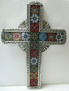 """Religious Wall Cross Mexican Art Punched Tin and Talavera Tile X Large 22"""""""