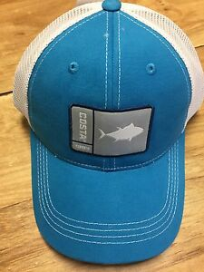 BRAND NEW COSTA DEL MAR MESH ADJUSTABLE CAP HAT ORIGINAL PATCH TUNA BLUE/WHITE
