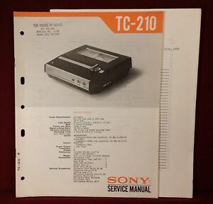 Sony Model TC-210 Sony-O-Matic Tapecorder ~ Service Manual