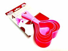 Pack Of 4 Heart Shape Measuring Cups, Assorted Size Pink