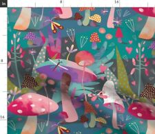 New listing Mushroom Forest Butterflies Purple Woods Spoonflower Fabric by the Yard