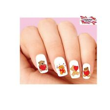 Waterslide Nail Decals Set of 20 - Valentines Teddy Bear with Hearts Assorted