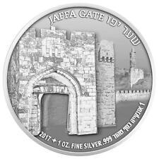 ISRAEL 2017 JERUSALEM SERIES JAFFA GATE BULLION PROOF 1oz PURE SILVER COIN
