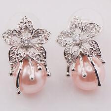 Pink Pearl 925 Sterling Silver Gemstone Earrings TE469