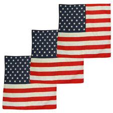 3 Bandanas Cotton Red,White & Blue American Flag Handkerchief Wrist Band