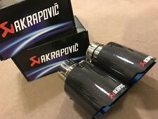 "2 X UNIVERSAL 3.5"" AKRAPOVIC STYLE GLOSS CARBON EXHAUST BLUE TIP TAILPIPE STEEL"