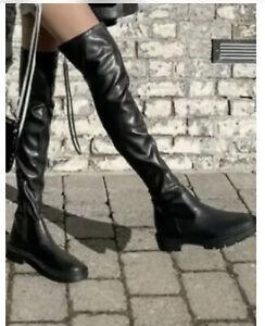 ZARA BLACK STRETCH ELASTIC TALL OVER THE KNEE FLAT BOOTS  TRACK SOLE UK 7 Eu 40