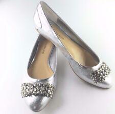 GIANNI BINI Women's Silver Sparkle Bedazzle Flat Shoes (8.5 M) ***Quality***