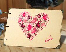DIY 30Pages 26.8cm x 16.7cm Kraft Big Heart Bird Photo Album Wedding Scrapbook