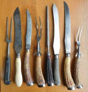 BIG LOT! 8x Vintage Carving & Bread Knife Fork & Steel Stag Handles etc 1800s
