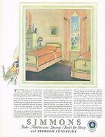 1920s BIG Vintage Simmons Mattress Bed Bedroom Interior Decor Art Print Ad