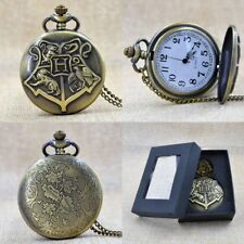 Unisex Bronze Harry Potter Round Dial Quartz Pocket Watch Necklace Chain Gift