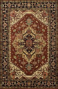 Tribal Heriz Serapi Rug, 5'x8', Copper/Black, Hand-Knotted Wool Pile