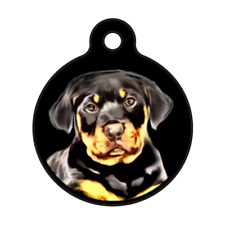 Rottweiler Puppy Personalized Pet ID Tag for Dog Collars & Harnesses