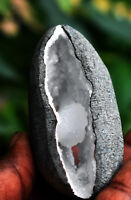 WHITE CHALCEDONY WITH STILBITE FORMATION GEODE