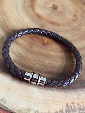 Mens Brown Leather Bracelet Tribal Steel 21 cm