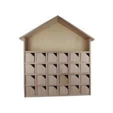 Wooden Christmas Advent Calendar House Mini Boxes Doors Compartments 32x7x34cm