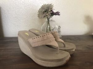 Volatile Womens Beige Wedge suede fringe Cushioned Sandals Size 8
