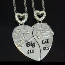 2 PART Big Little Sisters Heart Necklaces Xmas Gifts For Her Mum Daughters Women