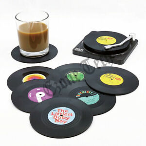 6 Pack Cup Pad Mat Holder Drink Coaster with Holder Vinyl CD Record Home Decor