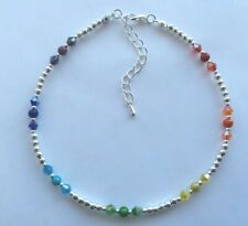 RAINBOW HEALING CHAKRA CRYSTAL & MIRACLE BEAD SILVER ANKLE BRACELET ANKLET 081