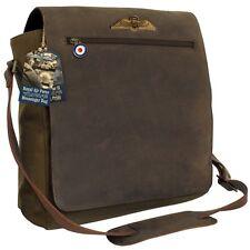 RAF Vintage MESSENGER BAG - Quality Suede Brown Leather Military Shoulder Bag