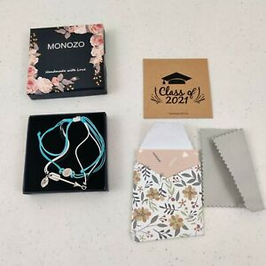 MONOZO  Gifts for Her Letter H Initial Compass and Arrow Bracelet