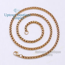 "36"" Men stainless steel Gold 3.5 mm Pearl Box Necklace Chain"