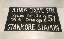"London Linen Bus Blind Jan78 36""- 251 Arnos Grove Totteridge Edgware Burnt Oak"