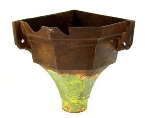 ^ Antique 1800's Victorian Cast Iron Corner Gutter Downspout Drain Pipe Hopper