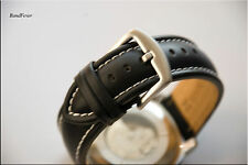 20mm Black White Stitches Genuine Calf Leather Watch Band Strap Timex Expedition