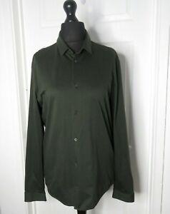 Cos Ladies Green Khaki Shirt Blouse UK Medium 10/12 Long Sleeve