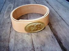 Civil War Leather Belt With Brass Oval CS Buckle