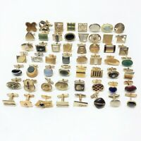 Single Cuff Links Lot, Sterling, Swank, Hickok, Anson, GF, Vintage, 56 Piece