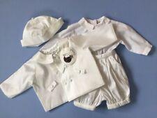 Designer SARAH LOUISE Baby Boy 4 piece Satin/Cotton Christening Outfit 3 Months