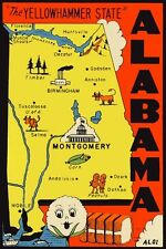 Vintage Travel Decal Replica Window Cling - Alabama