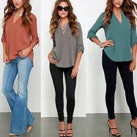 Women Shirt V-neck Long Sleeve Button Chiffon Shirt Tops Blouse Casual Fashion