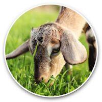 2 x Vinyl Stickers 7.5cm - Brown Goat Kid Grazing  #44470
