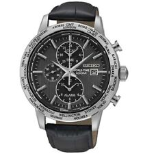 Seiko SPL049 P2 Black Dial Leather Band World Time Alarm Men's Analog Watch