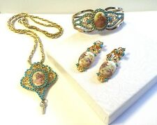 VINTAGE JULIANA RHINESTONE CAMEO NECKLACE BRACELET CLIP ON EARRINGS PARURE SET