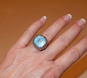 John Hardy Sterling Silver 925 & 18K Blue Topaz Ring Size 7