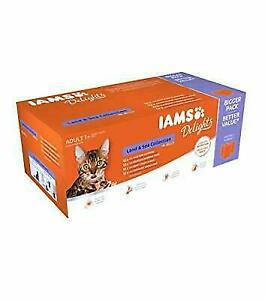 IAMS Delights Wet Food Land & Sea Collection for Adult Cats Meat and Fish 48x85g