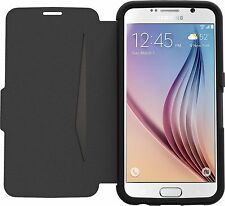 OTTERBOX SAMSUNG GALAXY S6 STRADA LEATHER WALLET CARD FLIP CASE COVER BLACK