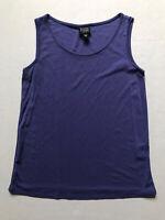 Eileen Fisher Sz PP Purple Sleeveless Tank Scoop  Neck 100% silk Periwinkle