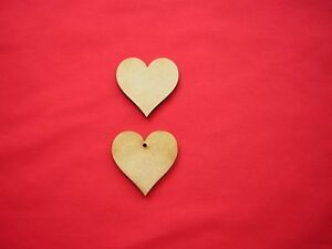 7cm MDF HEART x 20 with or without a hanging hole - LASER CUT