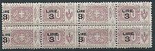 1923-25 REGNO PACCHI POSTALI 3 SU 10 QUARTINA VARIETà SOPRASTAMPA MNH ** - ED775