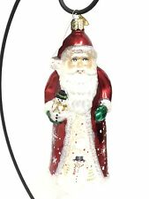 """Old World Christmas Glistening Santa With Snowman Glass Ornament 6.5"""" Co-181"""