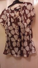 Pure Silk coffe/cream blouse with cami size 10 short sleeves