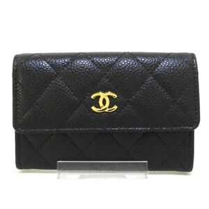 Auth CHANEL Matelasse Black Caviar Skin Card Case Gold Hardware