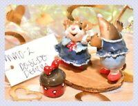 ❤️Wee Forest Folk MMO-2 Do-si-do Mouse Mole Denim Blue Red Square Dance WFF❤️